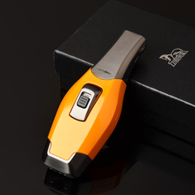 Beautiful Gadgets Yellow Metal Vigorous Windproof Double Torch Jet Flame Cigar Lighter W/ Gift Box