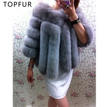 TOPFUR 2018 Fashion New Real Fox Fur Coat For Women Winter Short Outwear Warm Thick Natural Jacket Solid Casual