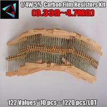 ФОТО 0.33r-4.7m ohm 1/4w 0.25w 5% dip carbon film resistor,122valuesx10pcs=1220pcs, resistor assorted kit, sample bag free shipping