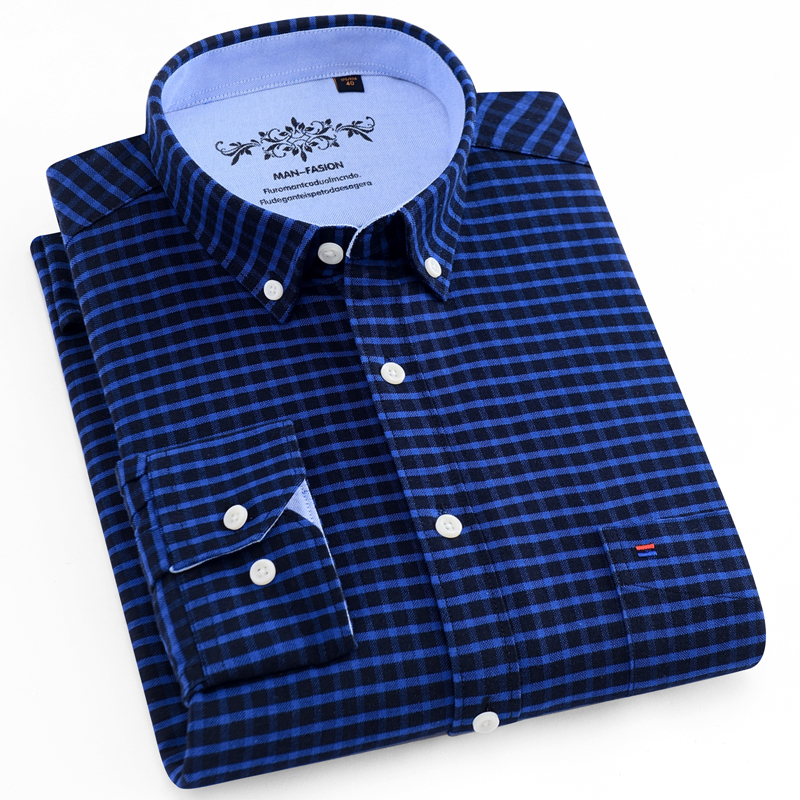 Men's Casual Regular-fit Oxford Button-down Shirts Embroidery Logo At Front Chest Pocket Long-Sleeve Plaid/Striped Printed Shirt