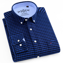 цена на Men's Casual Regular-fit Oxford Button-down Shirts Embroidery Logo at Front Chest Pocket Long-Sleeve Plaid/Striped Printed Shirt
