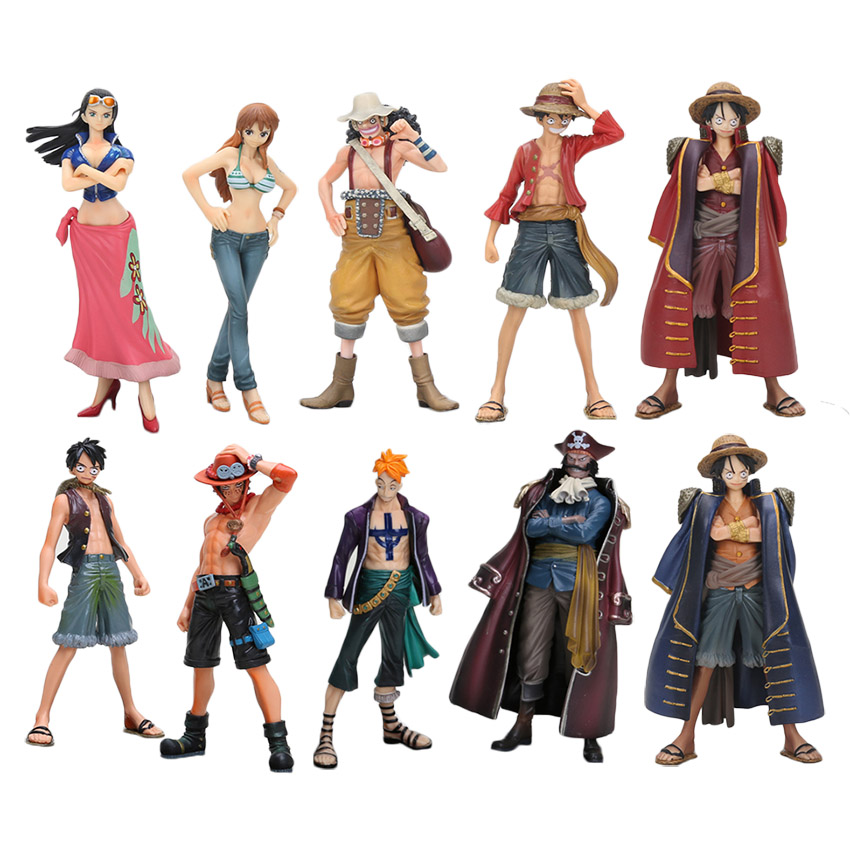 2pcs/set 17cm One Piece Luffy Ace usopp nami nico Marco Roger PVC Action Figure Model Toys One Piece Figure zxs sucker toys educational oogi figure 2pcs set bule