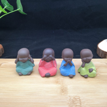 Little monk tea pet Purple sand clay buddha statue flowerpot decorative furnishing articles for decoration abstract sculpture