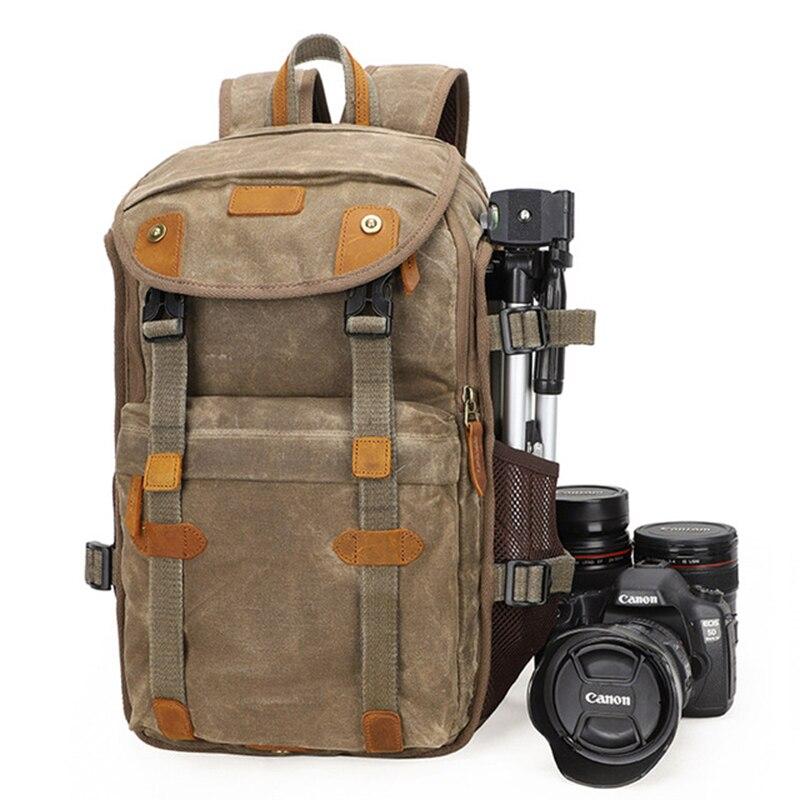 LXH Batik toile sac à dos appareil photo multifonction grande capacité sac de photographie pour Canon Nikon Sony DSLR sac étanche appareil photo