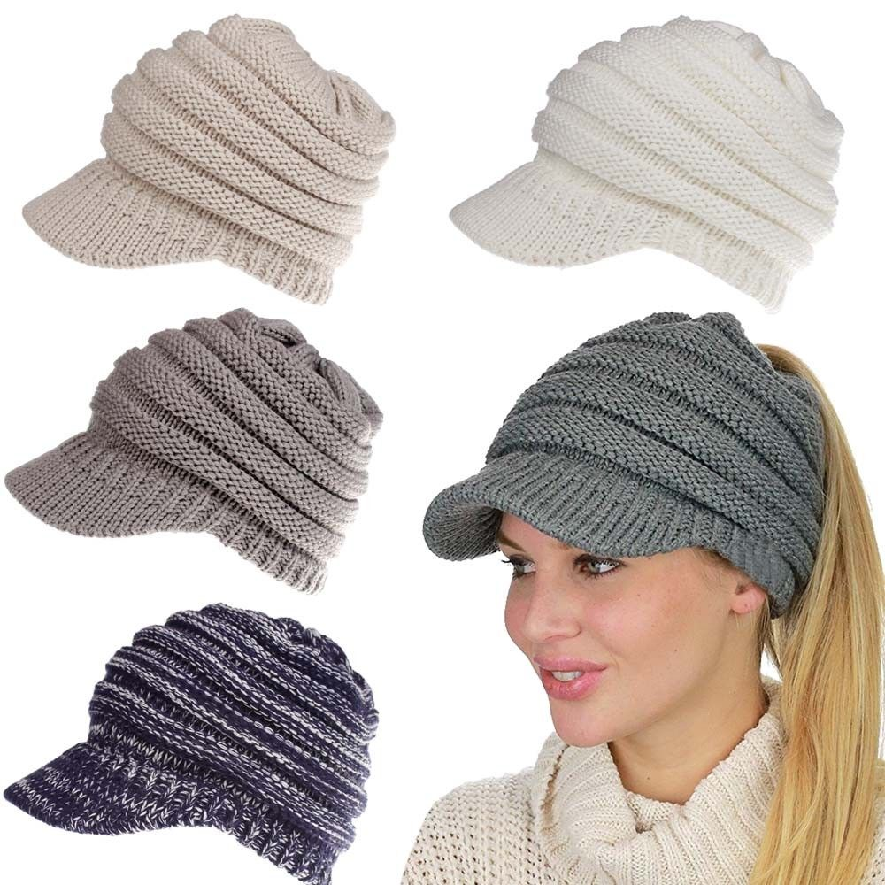 Women s Stretch Knit Hat Messy Bun Ponytail cap Lady Winter Warm Hole Hat  wool Knit Hats caps-in Baseball Caps from Apparel Accessories on  Aliexpress.com ... 22288e8991a