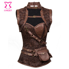 Vintage Brown Brocade Gothic Jacket Waist Trainer Corset Steampunk Clothing Women Plus Size Corsets And Bustiers S- 6XL Korsett