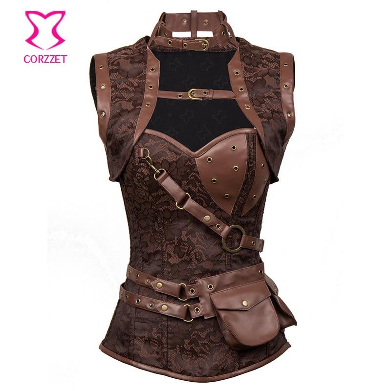 Vintage Brown Brocade Sexy Gothic Korset And Bustiers Steampunk Clothing Wanita Plus Size Corset Waist Trainer Steel Bone S-6XL