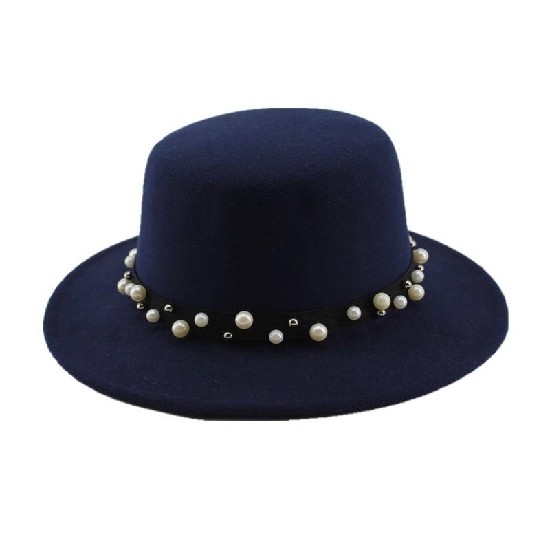 Black Wo Wide Brim Bowler Trilby Fedora Hat for Women Plain Flat ... 89e002e9a7e