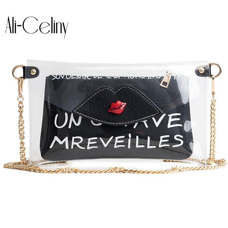 2-in-1 Brand original design Clutch bag Fashion Design Transparent Lips Bag Hand Holding Envelope Chain Shoulder Bag Message Bag