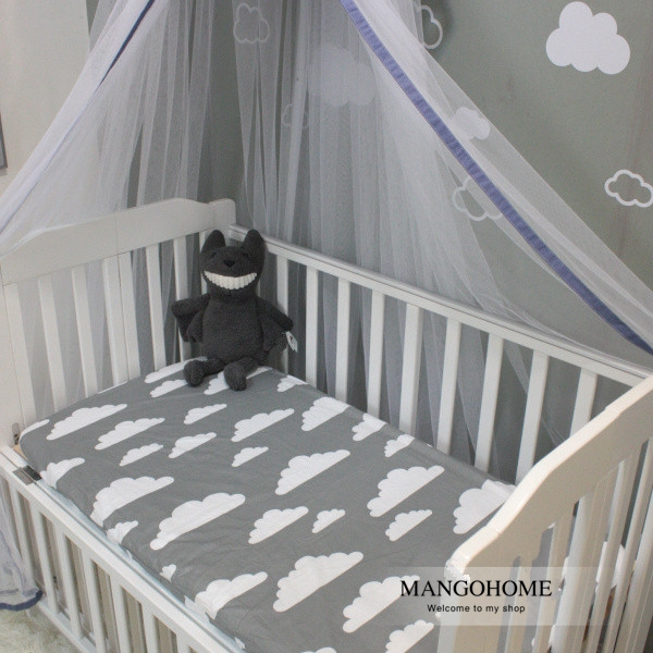 (Mattress cover 1pcs) 3 colors clouds design cotton baby bed fitted sheet 1pcs for 130x70cm baby girls boys crib bedding set