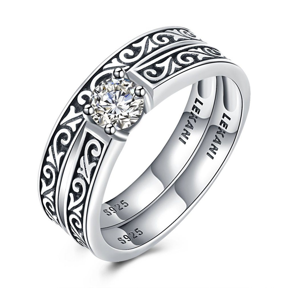 2018 Two-in-One Design S925 Silver Special Carving Pattern with Shiny Zircon Wedding Rings for Women Lover Gift Fine Jewlery