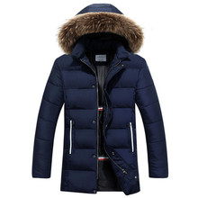 2017 New Winter Down Warm Jacket Men Fashion Casual Fur Collar Long Thick Cotton Padded Jacket Coat Parkas Homme Overcoat 3XL