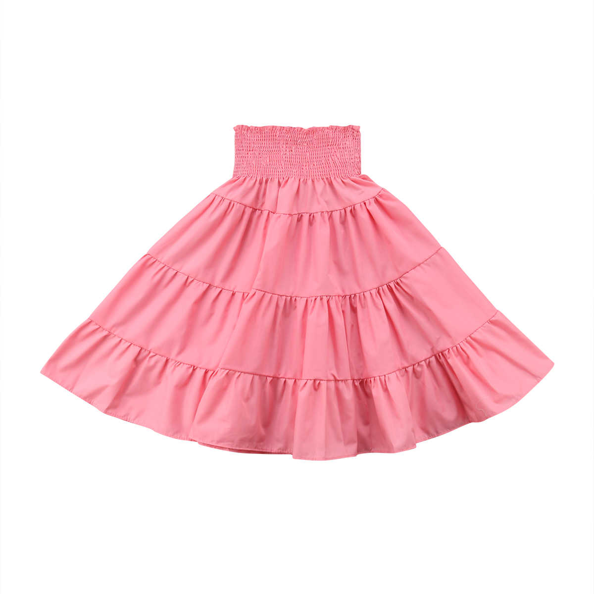 0b2584ede Baby Girls Beach Boho Skirt Casual Long Princess Summer Pleated Solid Color  Kids Casual Skirts
