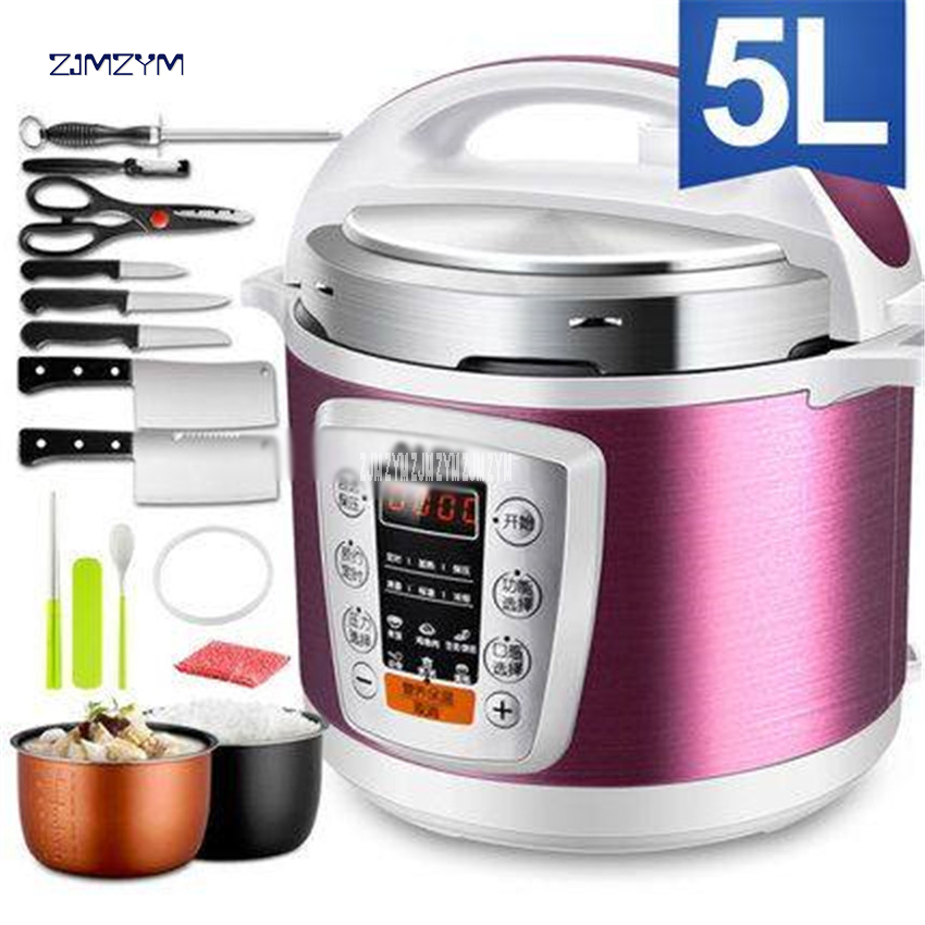 Multi-Use Smart Booking Pressure Slow Cooking Pot Cooker 900W Stainless Steel Electric Pressure Cooker Y502S 5L Dual-gallon Rice