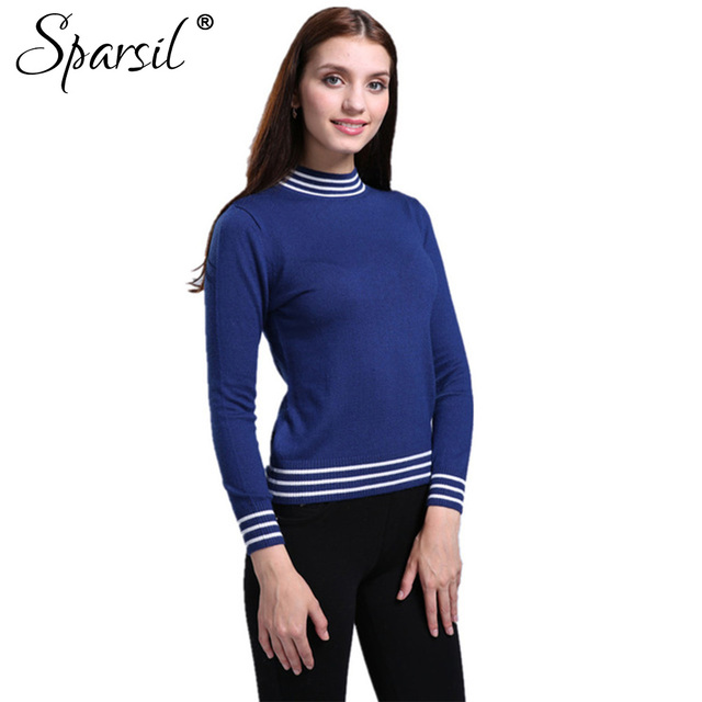 Sparsil Women Autumn Half-Height O-Neck Cashmere Blend Knitted Pullover Sweater Striped Style Full Sleeve Knitwear Sweaters