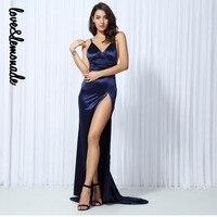 Love&Lemonade Navy Blue V Collar Cut Out Long Long Dress LM0133