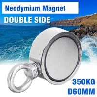 Super Strong Double Side 350kg D60mm Neodymium Fishing Salvage Recovery Magnet For Detecting Metal Treasure Powerful Magnetic