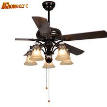 HGHomeart American LED Wooden Fans Light Chandeliers for The Bedroom E27 European Style Iron Living Room Lamp Retro Chandelier(China)