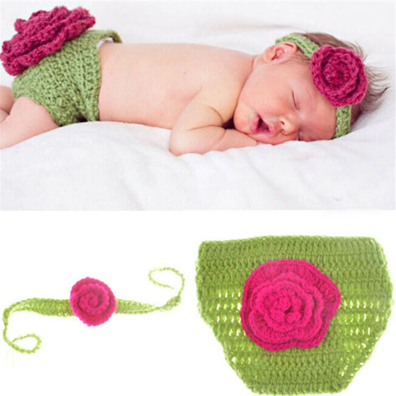 Flower Design Crochet Baby Diaper Cover & Headband Set Newborn Photo ...