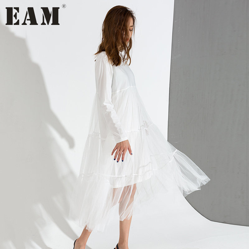 [EAM] 2018 Hot New spring Round Neck Long Sleeve Solid Color White Gauze Stitching Hem Loose Dress Women Fashion Tide AS3360