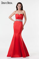 2017 Red Stain Evening Dresses with Sweetheart Neckline Floor Length Side Split Party Prom Gowns