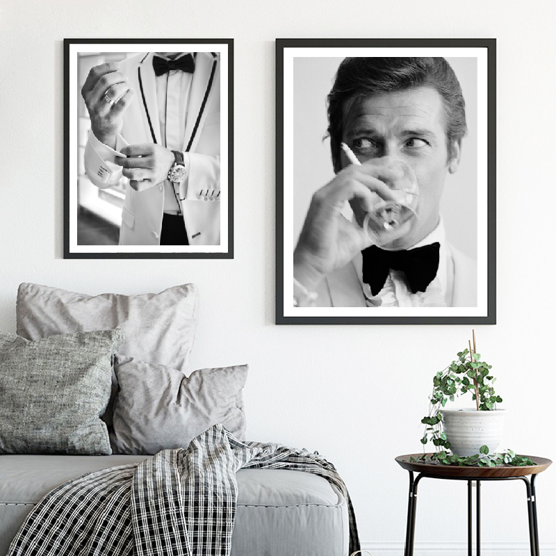 Gentleman Spy Movie 007 Poster Art Canvas Painting , Fashion Man In A Suit  Makeup Prints Wall Art Pictures Home Decor