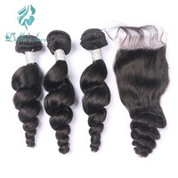 Brazilian Hair Loose Wave 3 Bundles With Closure Remy Hair Nature Color Lace Closure Free Part Hair Extensions
