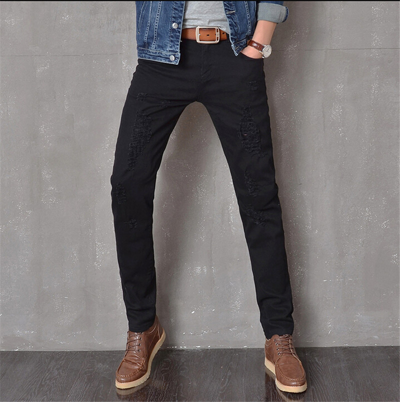 ФОТО designer new men black jeans skinny ripped Stretch Slim fashion hip hop swag man casual denim biker pants overalls Jogger