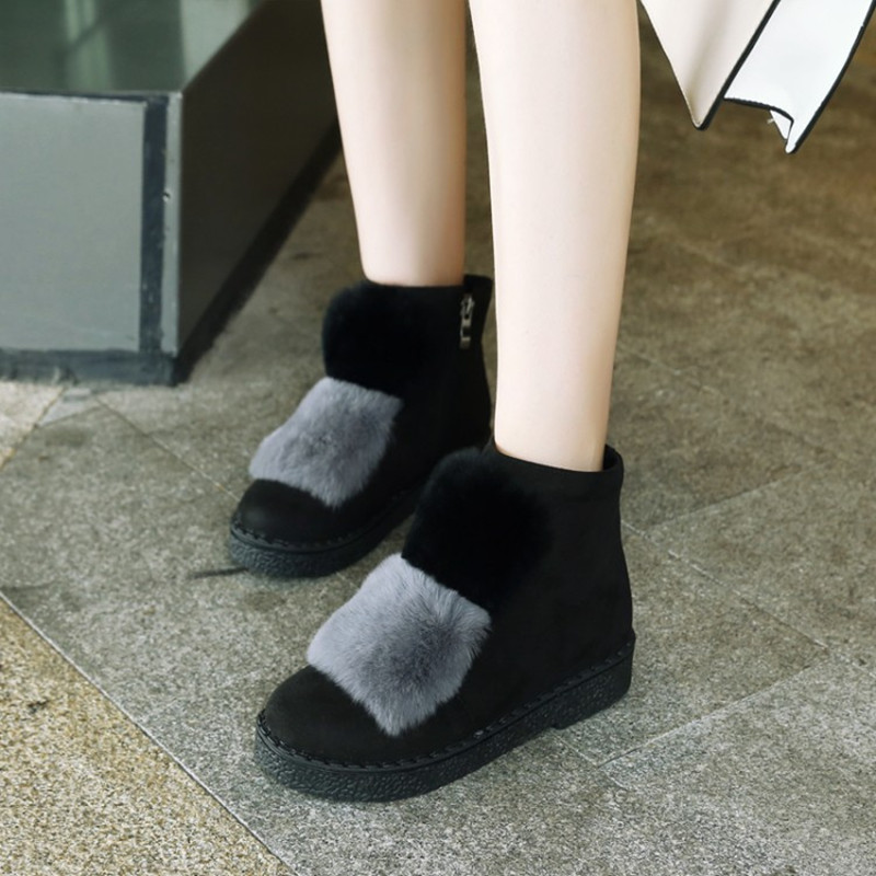 Plus Size 34 45 New Fashion Natural Rabbit hair Ankle Boots For Women Autumn Winter keep warm Real rabbit fur woman Casual shoes in Ankle Boots from Shoes