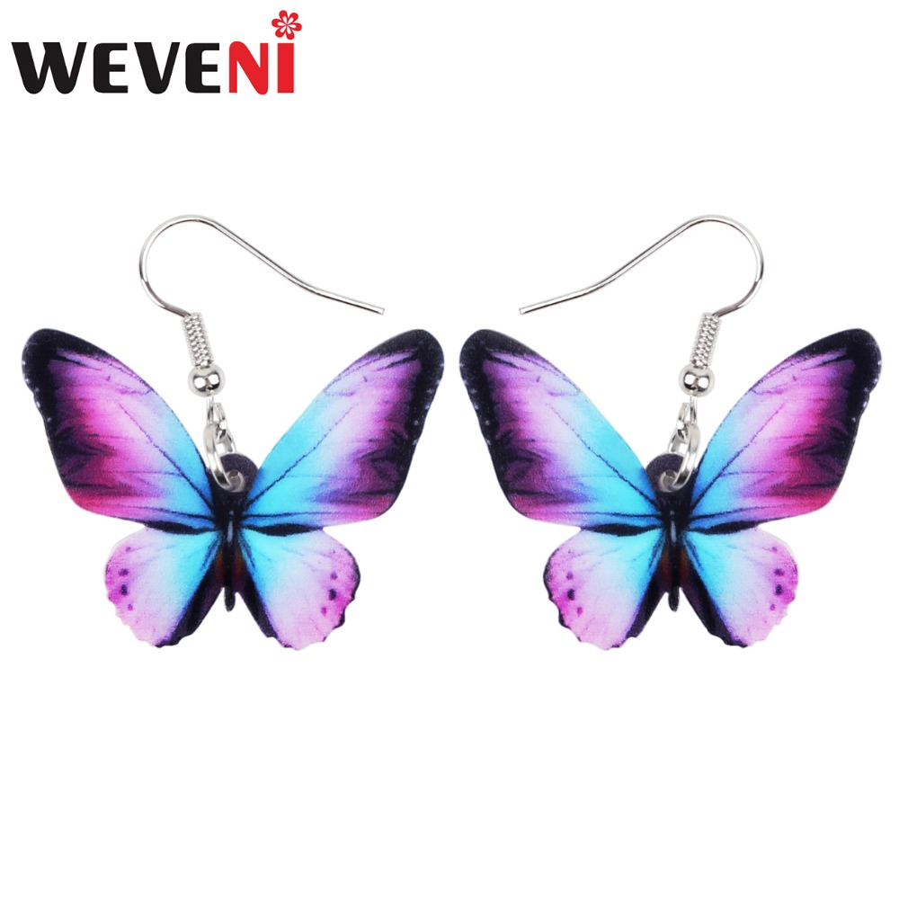 WEVENI Acrylic Big Bright-coloured Butterfly