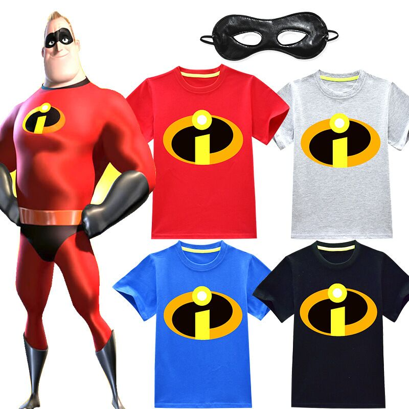 Boys T-Shirts Short-Sleeve Baby-Girls Cotton Child The 2 Cosplay Eye-Mask Incredibles
