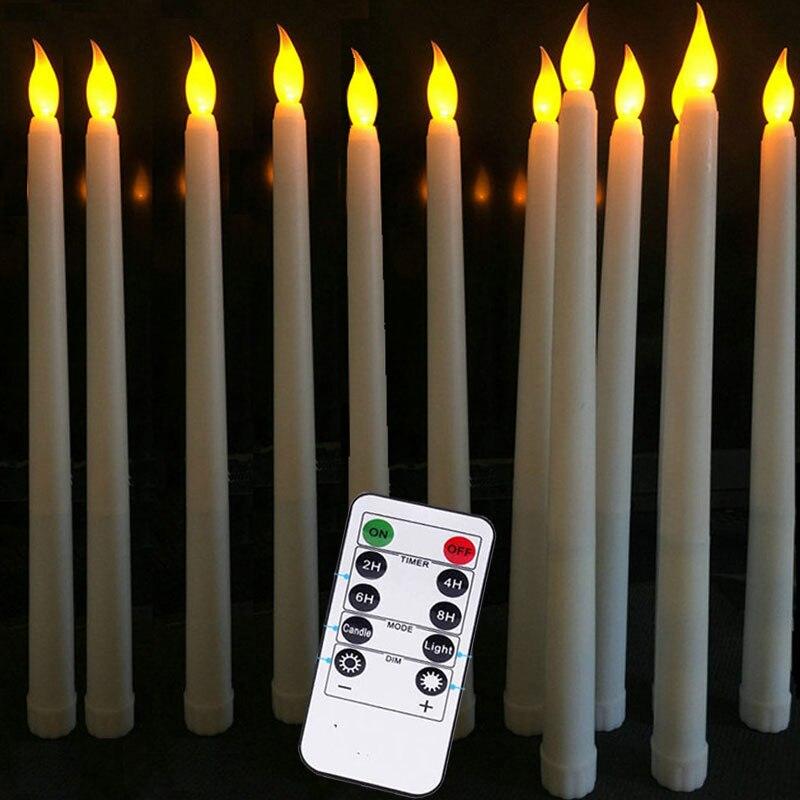 Amarillo 12 LED Velas Velas Sin Llama Para La Decoraci/ón Del Hogar Funci/ón De Temporizaci/ón Control De Interruptor De La Navide/ña Boda Y Fiesta