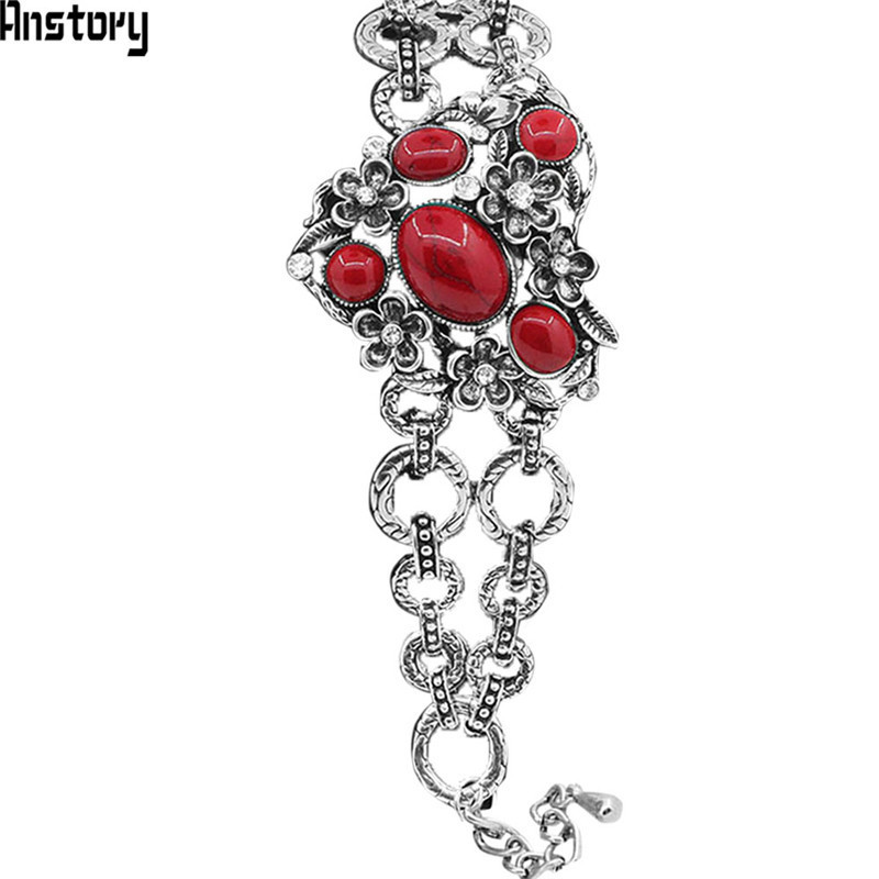 Hollow Flower Heart Shape Blue Red Stone Bracelet For Women Antique Silver Plated Lock Fashion Jewelry TB170 цена