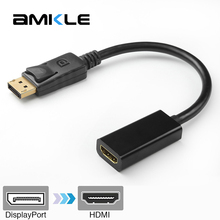 Amkle DP to HDMI Adapter Cable Male DisplayPort to Female HDMI 1080P Adapter Converter Cable for PC Display Laptop Projector