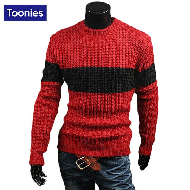 Homens de inverno da Moda Contraste de Cor Camisola Camisolas de Lã Grossa de Malha Casual Masculino Elástico Pullover Novos Homens Roupas de Malhas