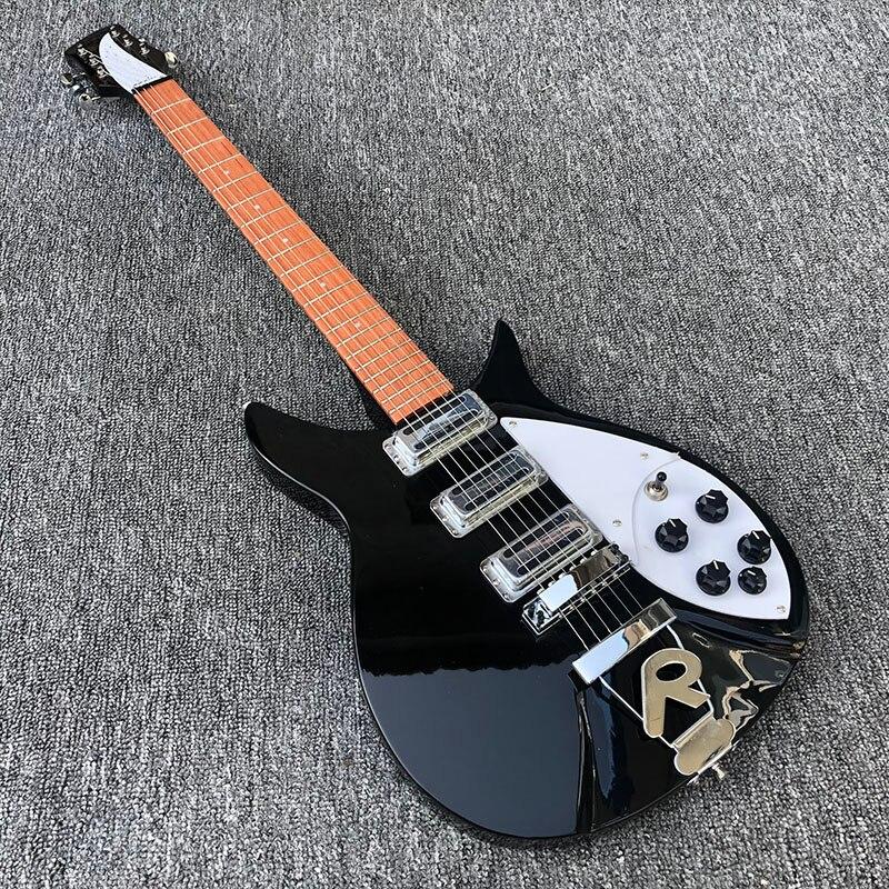 Pieza trasera R 628mm cuello completo 325 guitarra eléctrica Ricken, diapasón de palo de rosa con acabado de pintura transparente, fotos reales