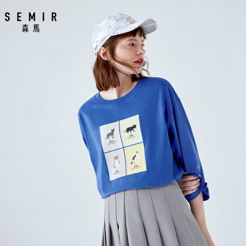 SEMIR T-shirt Women 2019 New Wave Loose T-shirt Female Thin Cotton Three Quarter Sleeve T Shirt Printing Chic Early Autumn Tshir