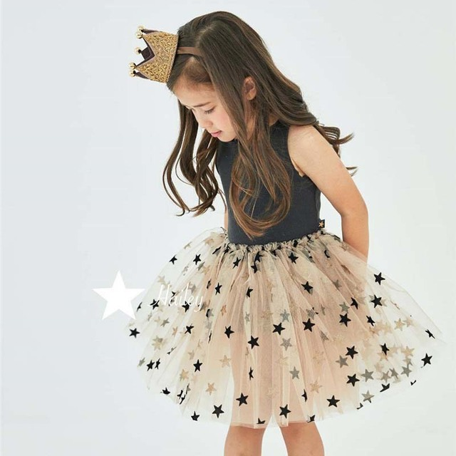 2019 new arrival girls fashion star printed tutu dress kids princess dresses baby girl clothes  kids dresses for girls