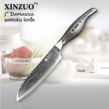 XINZUO 5″ chef knife Japanese VG10 Damascus steel kitchen knife santoku knife color wood and stainless handle FREE SHIIPPING