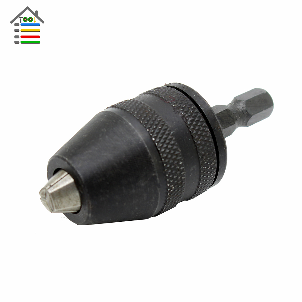 New Keyless Drill Chuck Adapter 1/4 (6.35mm)Hex Shank Screwdriver Impact Driver Electric Drill Drills Power Tool Free shipping new 3pcs 32mm straight shank 1 16mm keyless drill chuck cnc milling