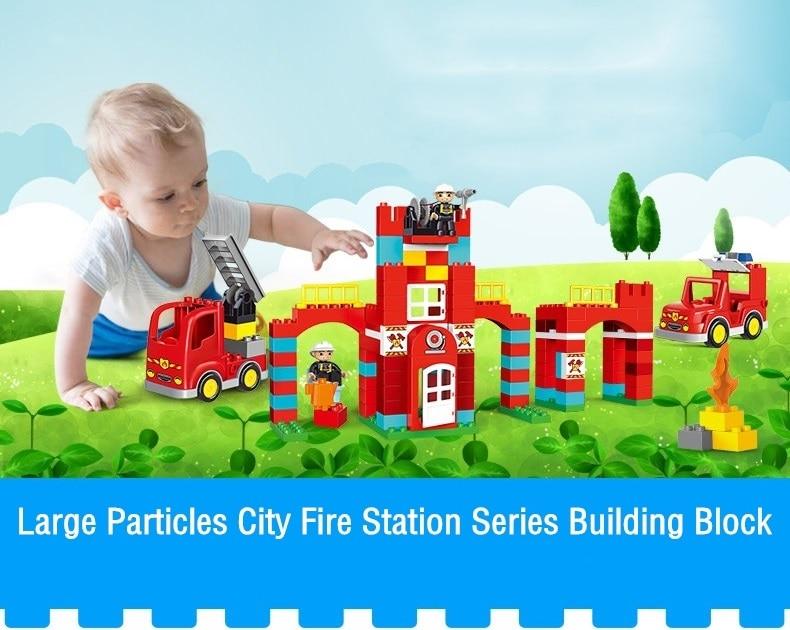 Big Blocks City Fire Station Building Blocks Set Compatible Legoed