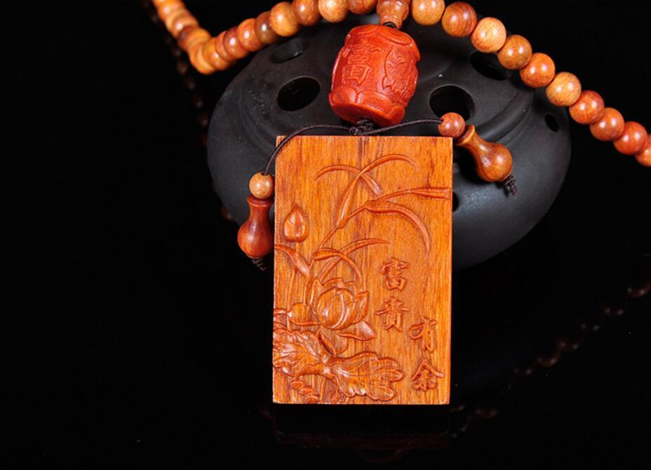 8mm108 Indonesian blood dragon wood bead And sculpture orchid Pendant necklace rhinestone bead pendant necklace and earrings