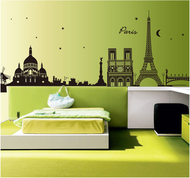 Removable Paris Night Home Decor Wall Stickers For Living Room ...
