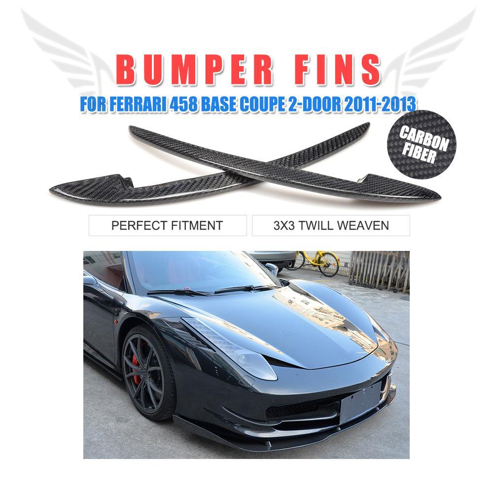 2 pièces/ensemble en Fiber de carbone avant pare-chocs aile canards pour Ferrari 458 Base Coupe 2 portes 2011-2013 autocollants créatifs accessoires de voiture
