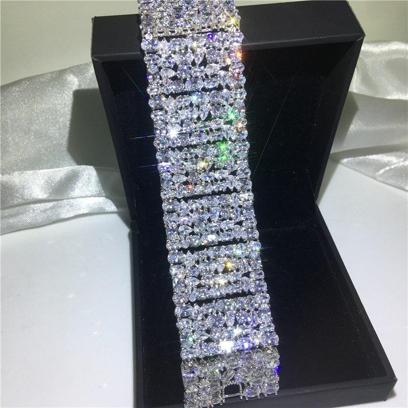 Роскошные браслеты choucong, белое золото, заполненный Mutil AAAAA cz, серебряный цвет, вечерние, свадебный браслет для женщин, свадебный подарок, шири... - 2