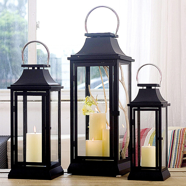 Soft Time American Country Wrought Iron Candle Holders Large Floor Windproof Patio Home Furnishings Ornaments