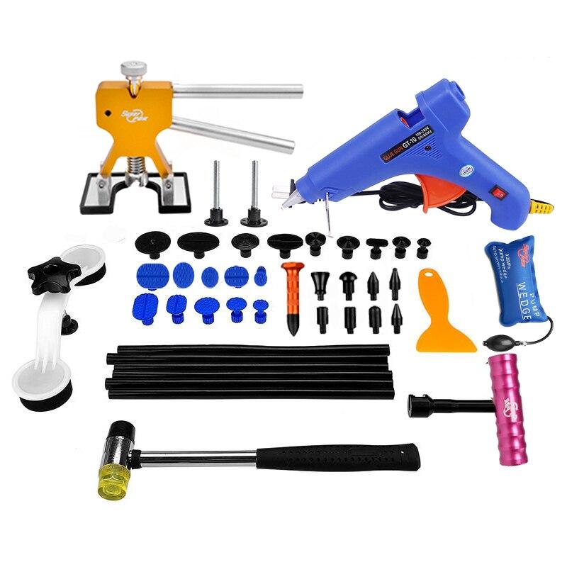 Ferramentas de PDR Paintless Dent Repair Tools Carro Ferramenta de Reparação de Danos Causados Por Granizo Kit Bastões de Cola Hot Melt Pistola de Cola Extrator Tabs ferramentas