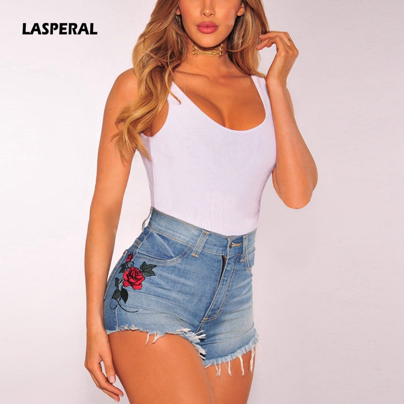 LASPERAL 2017 Summer Sexy Women Slim Mini Denim Jeans Short Pants Rose Embroidery Vintage High Waist Cowboy Casual Pocket Shorts bear embroidery pocket shorts denim pants trousers mori girl summer