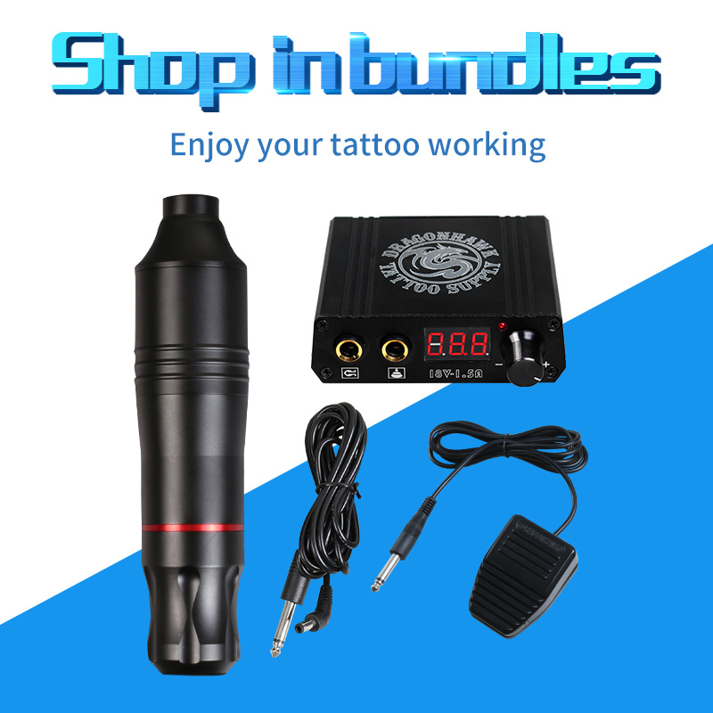 Professional Tattoo Rotary Pen  Kit Set LCD Mini Power Tattoo Pedal Switch Cartridge Needles Supply-in Tattoo Kits from Beauty & Health    2