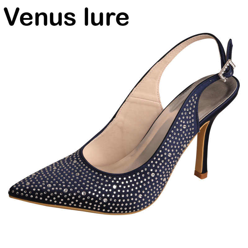 99e3532bbc Diamante Ladies Wedding Shoes Pointed Toe Navy Blue Party Evening Pumps  Stiletto Heel